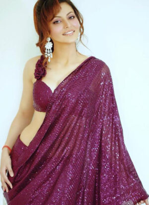 Urvashi Rautela In Heavy Pink Color Full Sequence Work Saree