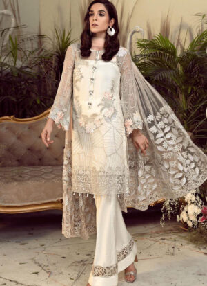 Off-White Thread Embroidered Georgette Party Wear Pakistani Straight Suit