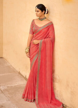 Coral Georgette Fabric With embroidery work